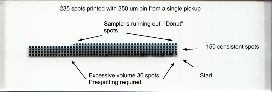 350um Microarray Pin Depletion Test Printed with uArrayer
